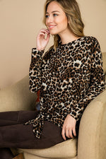 Load image into Gallery viewer, Animal Print Tie Front Detail Top - M C and J
