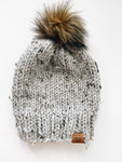 Miner Toque - Marble Grey with Brown Fur Pom