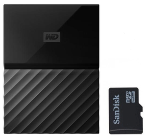 WD My Passport External drive and a SanDisk memory card