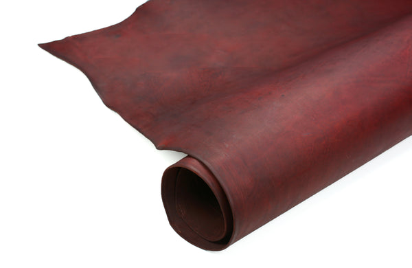 Rolled side of special  ChahinLeather Burgundy Harness