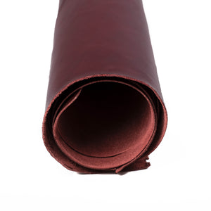 Close up of rolled ChahinLeather Burgundy Luxe Strap