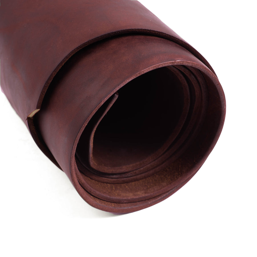 Close up of Rolled ChahinLeather Burgundy Latigo