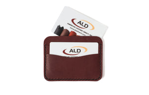 Gift card with burgundy wallet