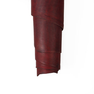 Close up of ChahinLeather Burgundy Alum Tanned Latigo