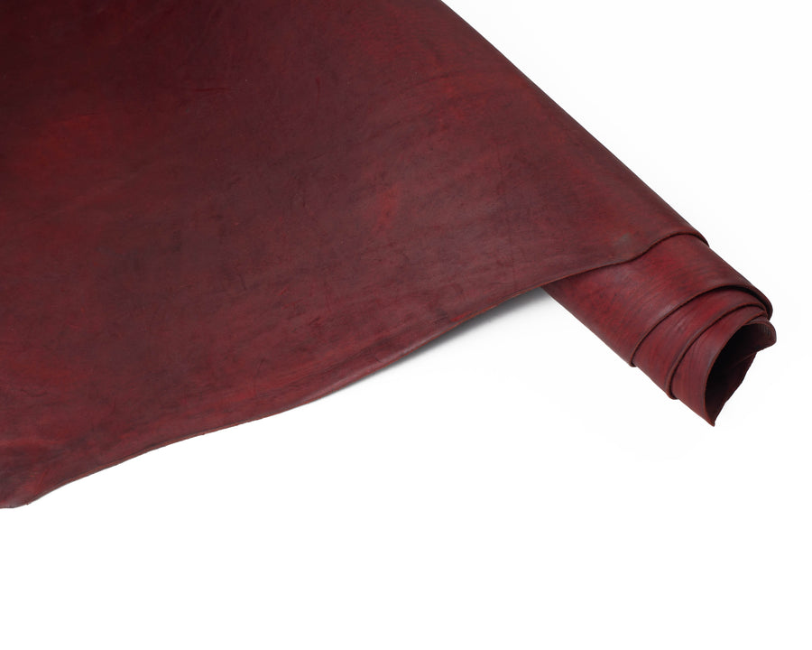 Rolled Side of ChahinLeather Burgundy Alum Tanned Latigo