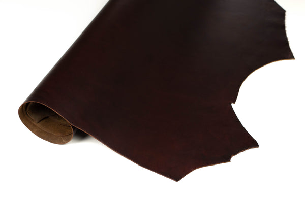 Rolled side of ChahinLeather Rosewood Pull-Up Leather