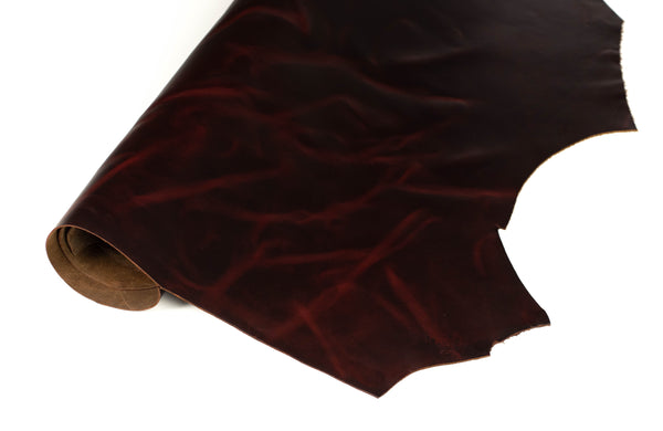 Side of ChahinLeather Rosewood Pull-Up Leather