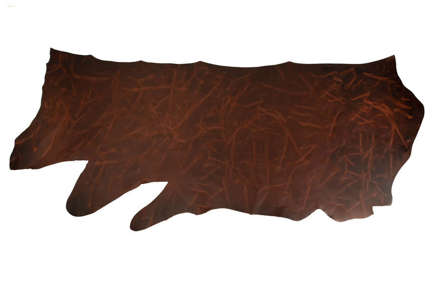 Side of ChahinLeather Pecan Pull-Up Leather