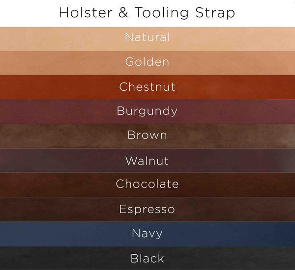 Color options for Holster and Tooling strap