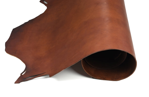 Rolled side of ChahinLeather Medium Brown Bridle