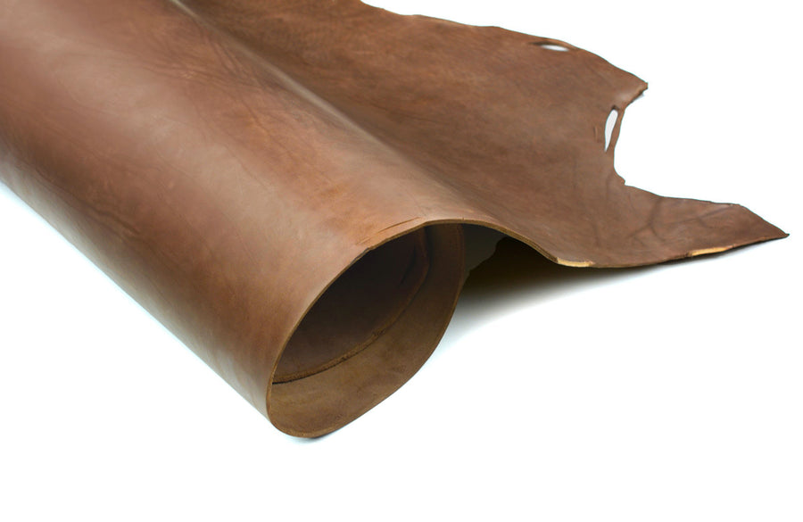 Rolled side of ChahinLeather Brown Skirting