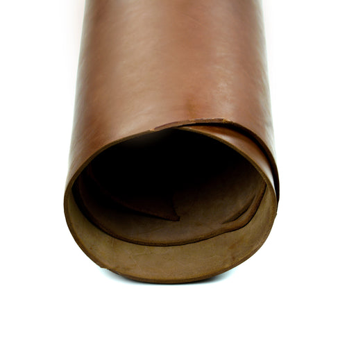 Close up of rolled ChahinLeather Brown Skirting