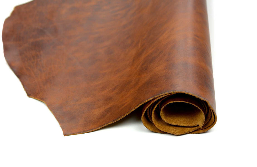 Rolled side of ChahinLeather Dark Umber Leather