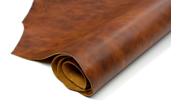 Close up of rolled ChahinLeather Dark Umber Leather
