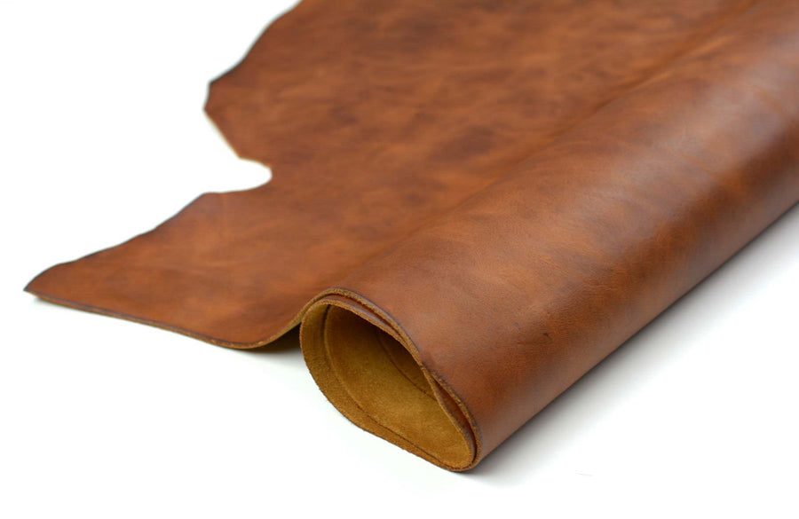 Rolled side of ChahinLeather Medium Umber Leather