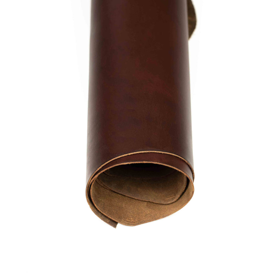 Close up of rolled ChahinLeather Pecan Pull-Up Leather