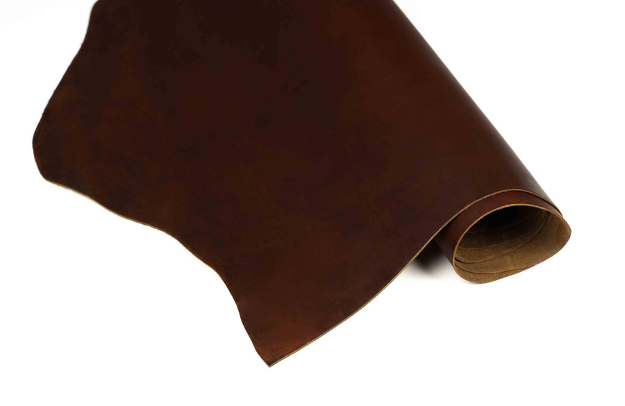 Rolled side of ChahinLeather Pecan Pull-Up Leather