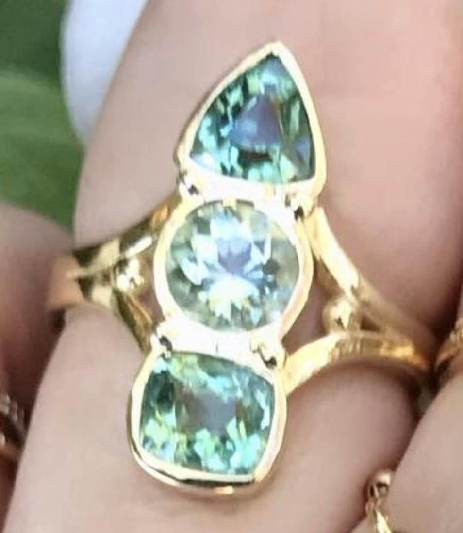 Green Tourmaline 3 Bezel Ring