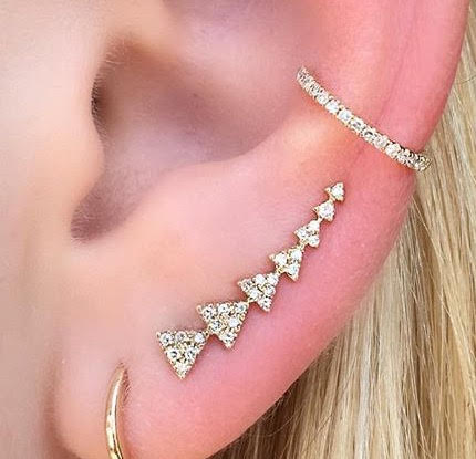 Single 7 Triangle Ear Climber