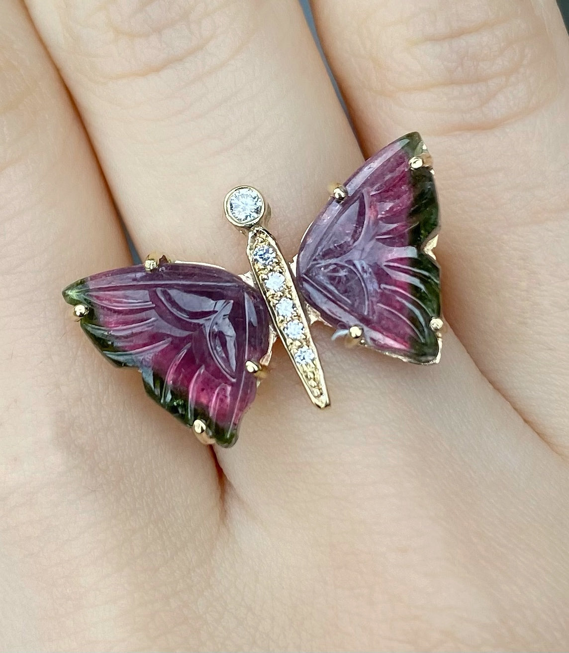 Carved Watermelon Tourmaline Butterfly