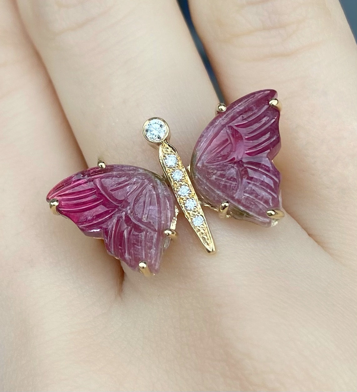 Carved Dark Pink Tourmaline Diamond Butterfly ring