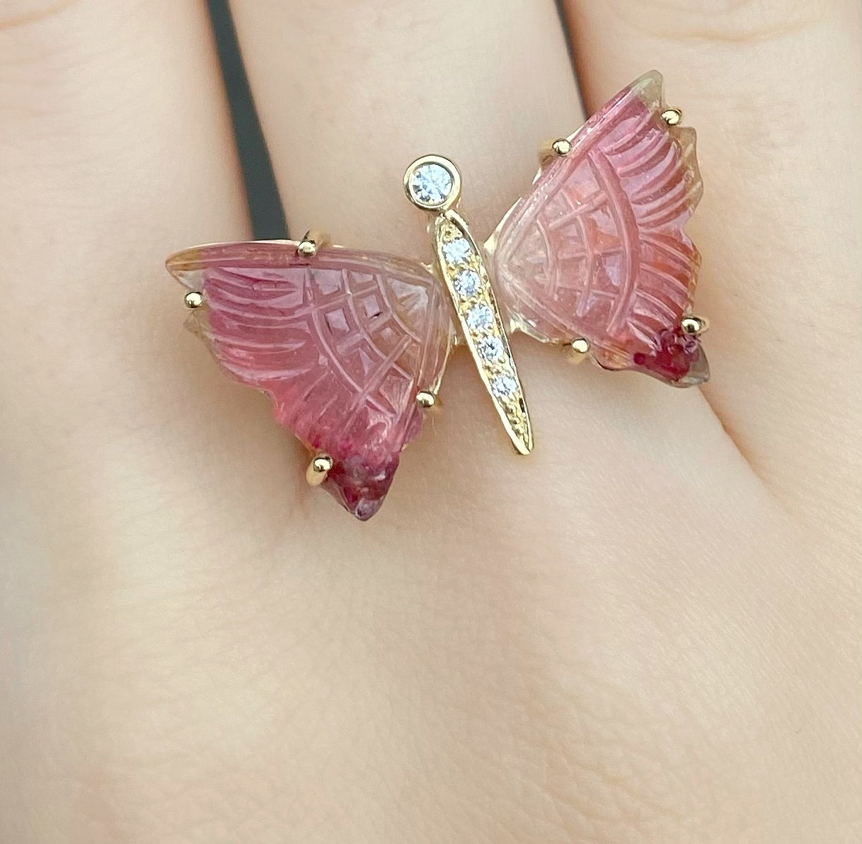 Carved Pink Bicolor Pink Tourmaline Diamond Butterfly Ring