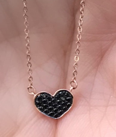 Tiny Heart Black Diamond Necklace