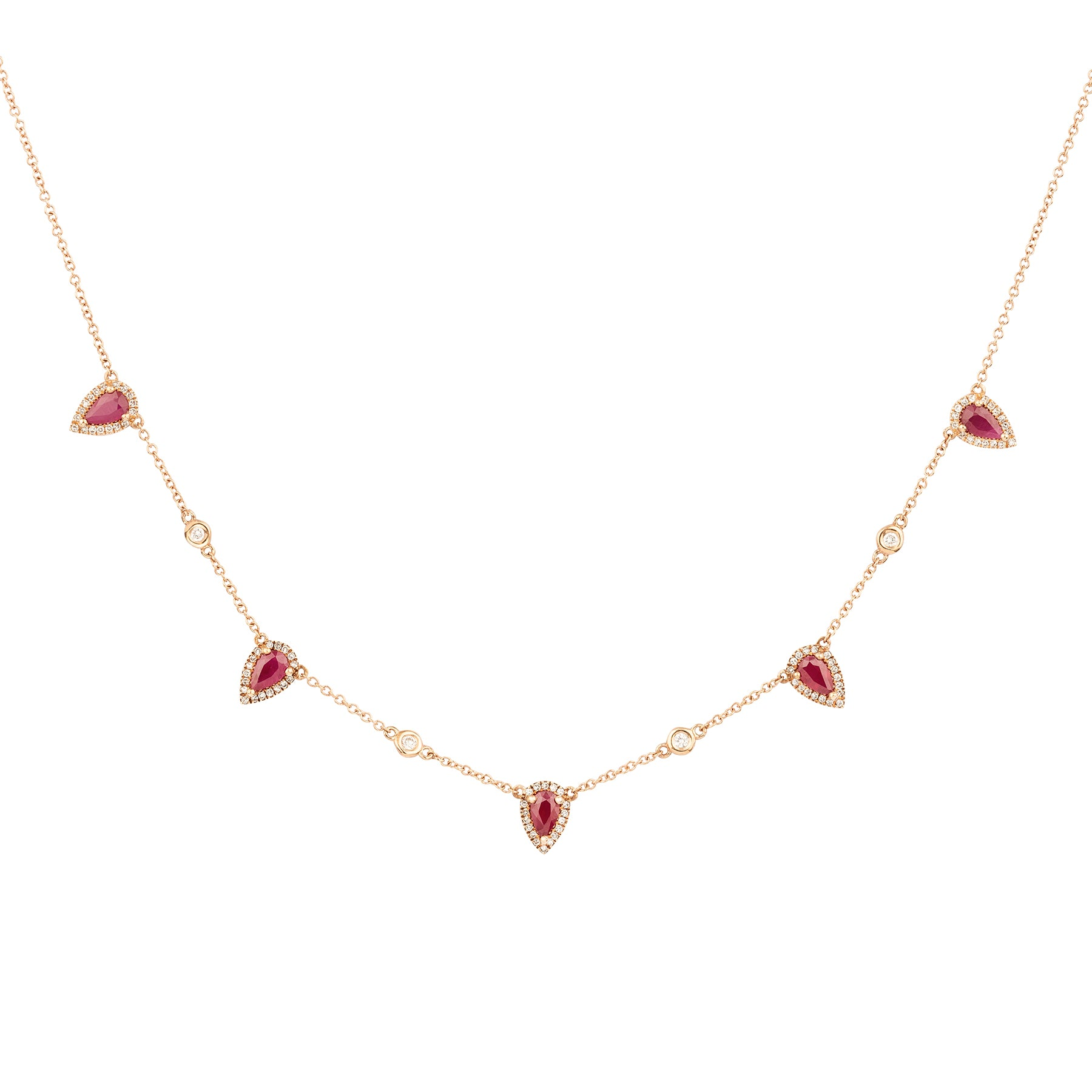 Ruby Tear Drops Diamond Necklace