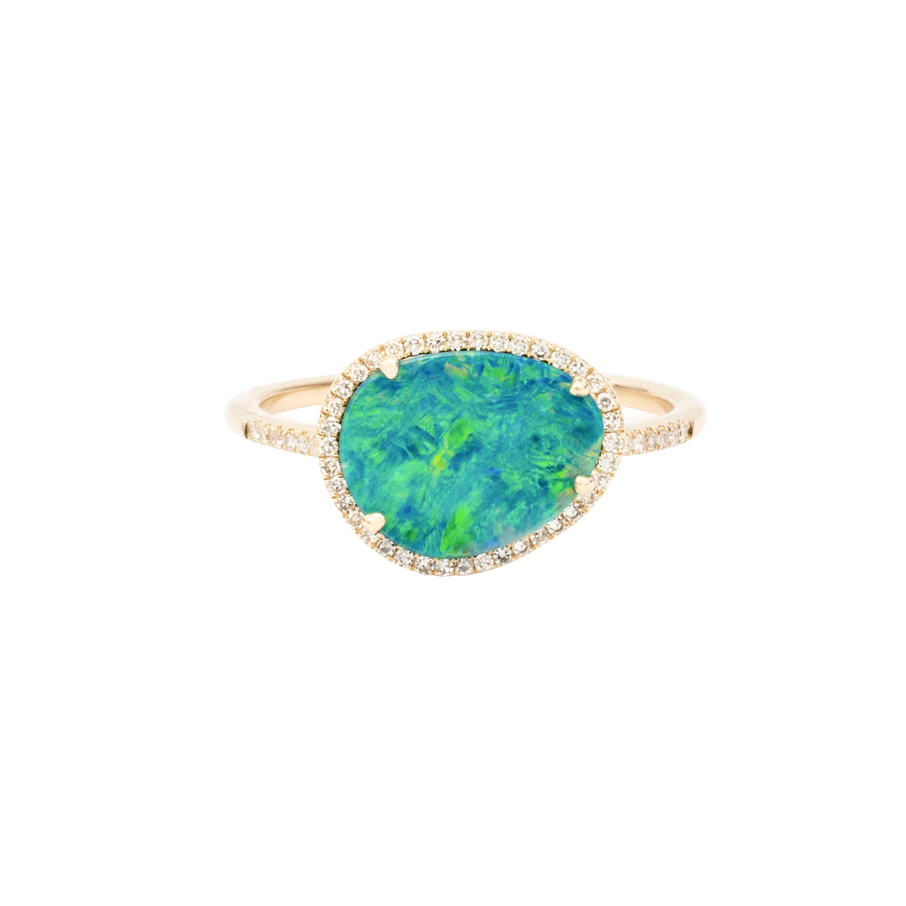 Organic Opal Ring With Diamonds