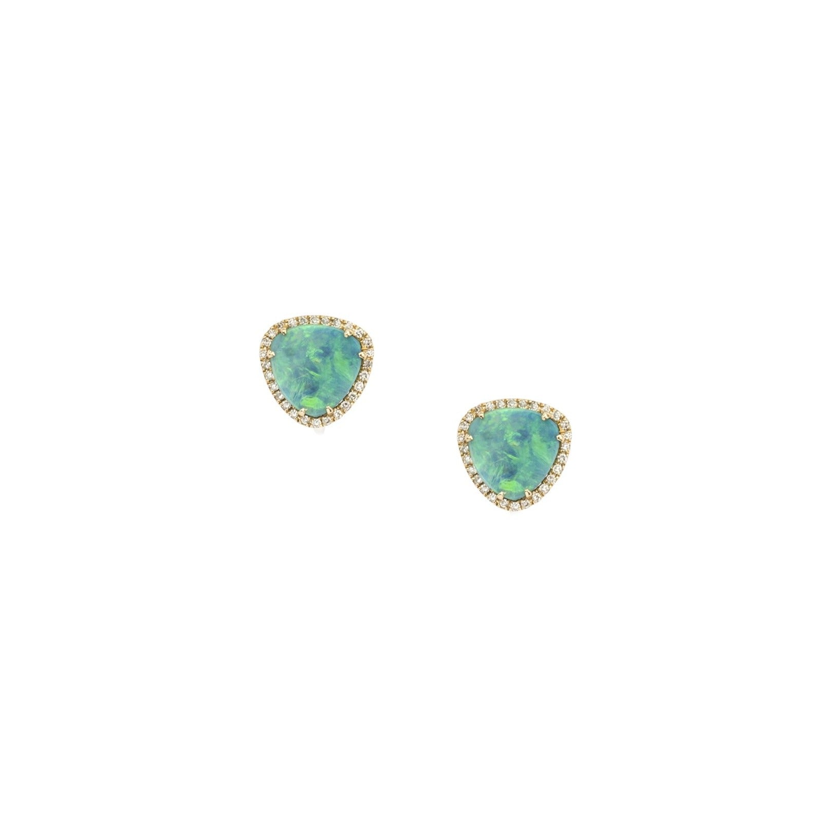 Organic Shape Opal Diamond Studs