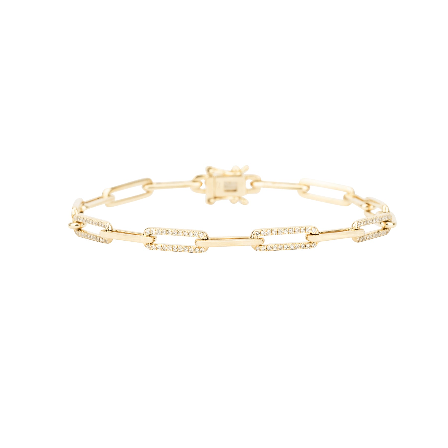 Half Diamond Solid Gold Chain Link Bracelet