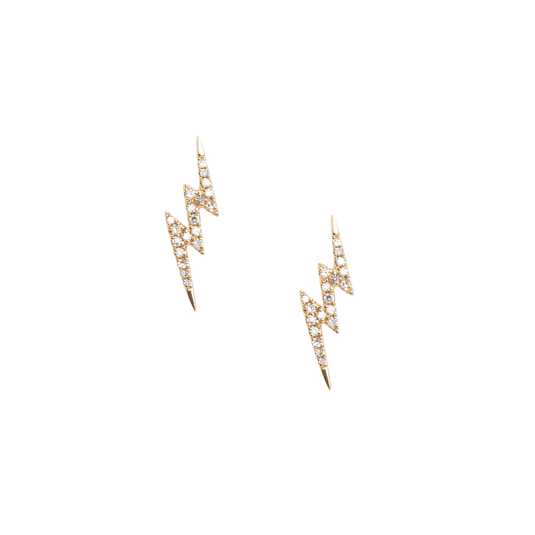 Large Lightning 3 Bolt Diamond Studs