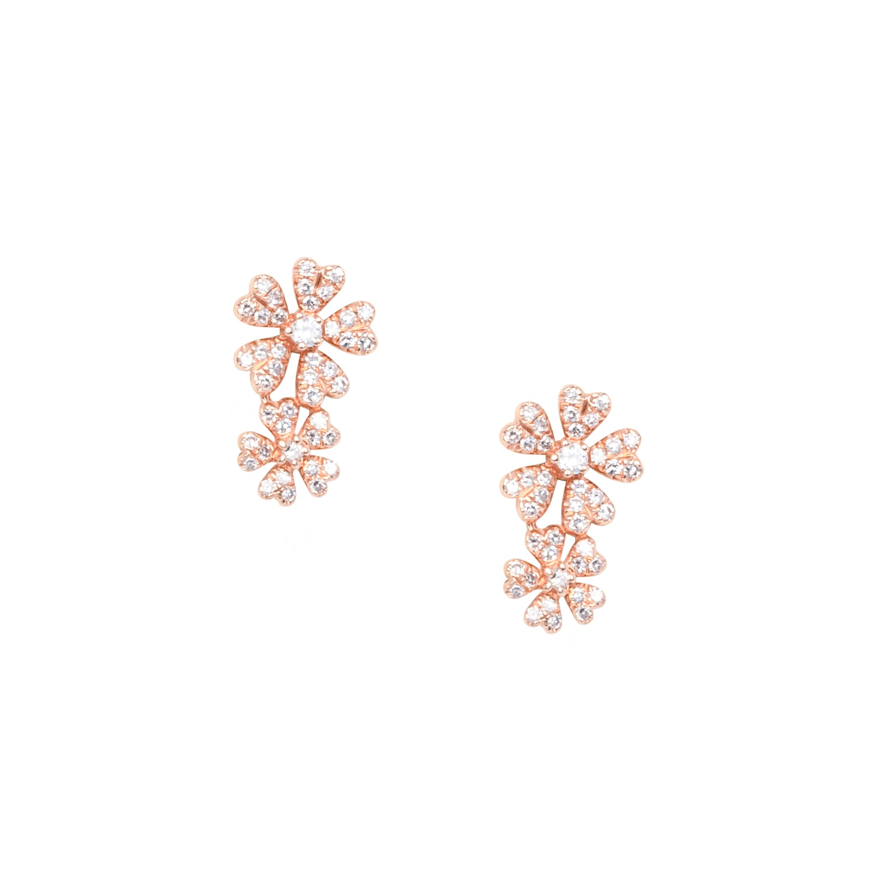 Double Flower Diamond Climber Studs
