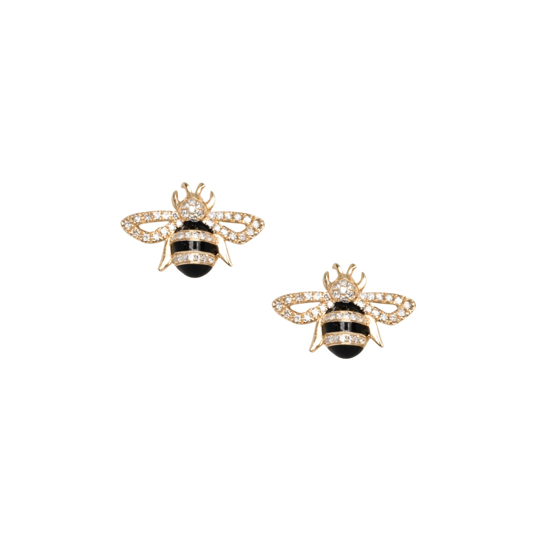 Diamond Black Enamel Bee Studs