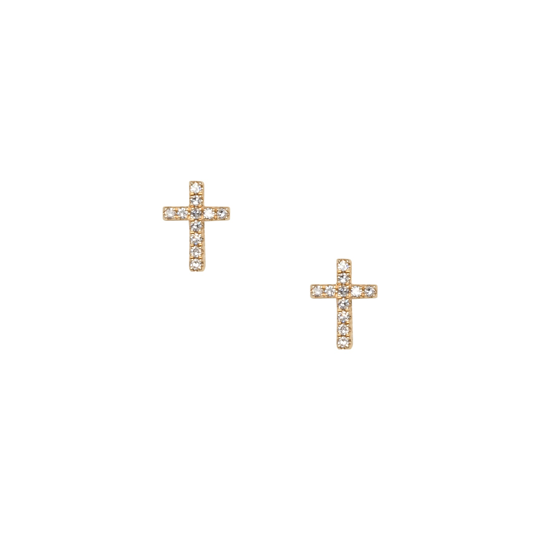 Tiny Diamond Cross Studs