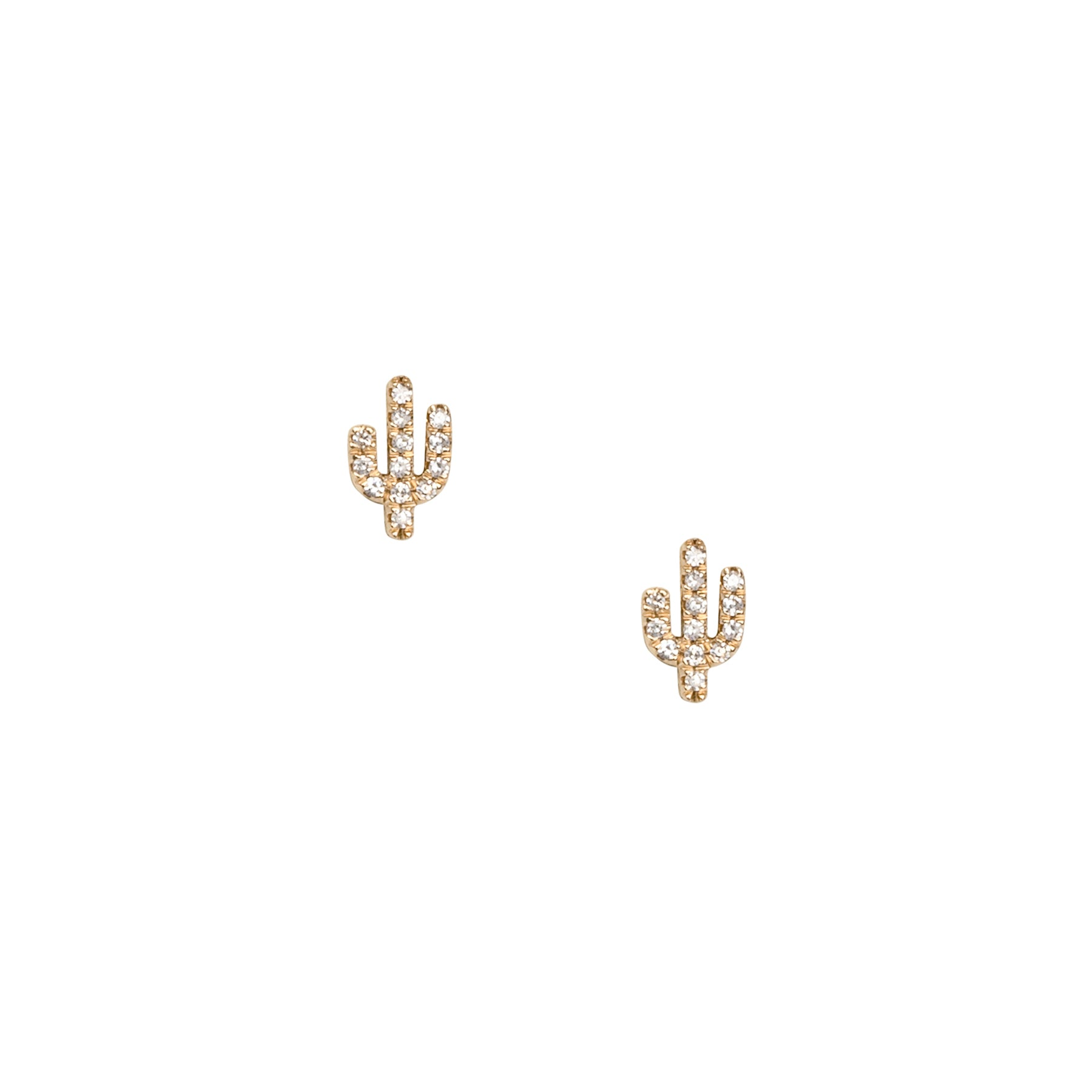 Tiny Cactus Diamond Studs