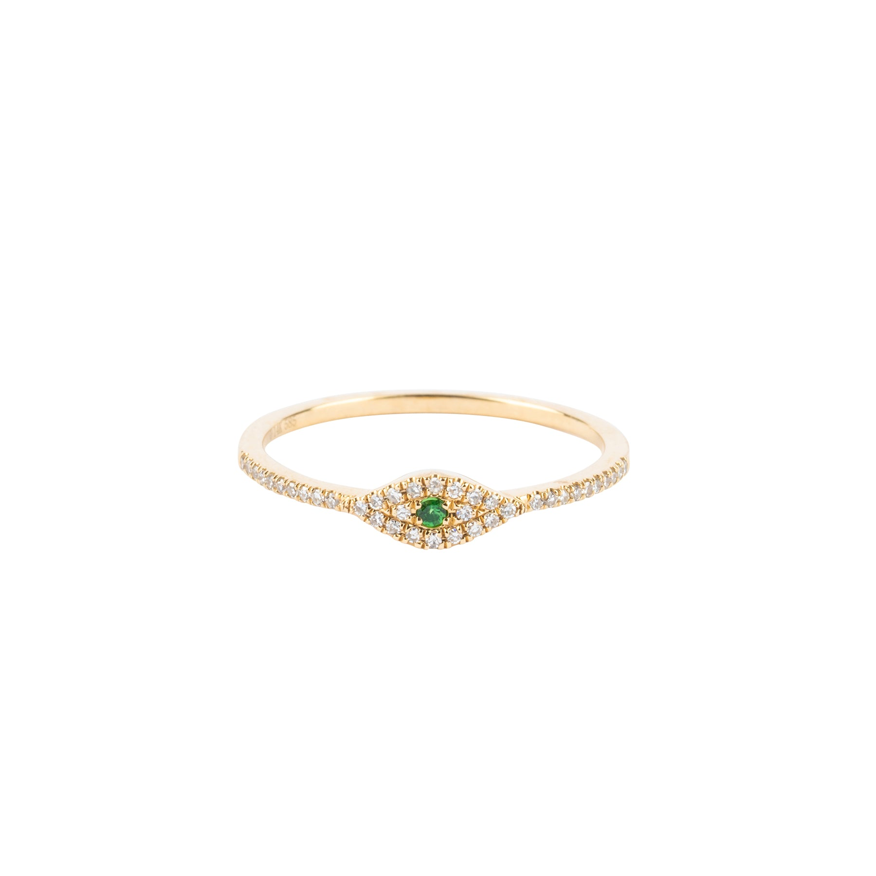 Tiny Diamond Emerald Eye Ring