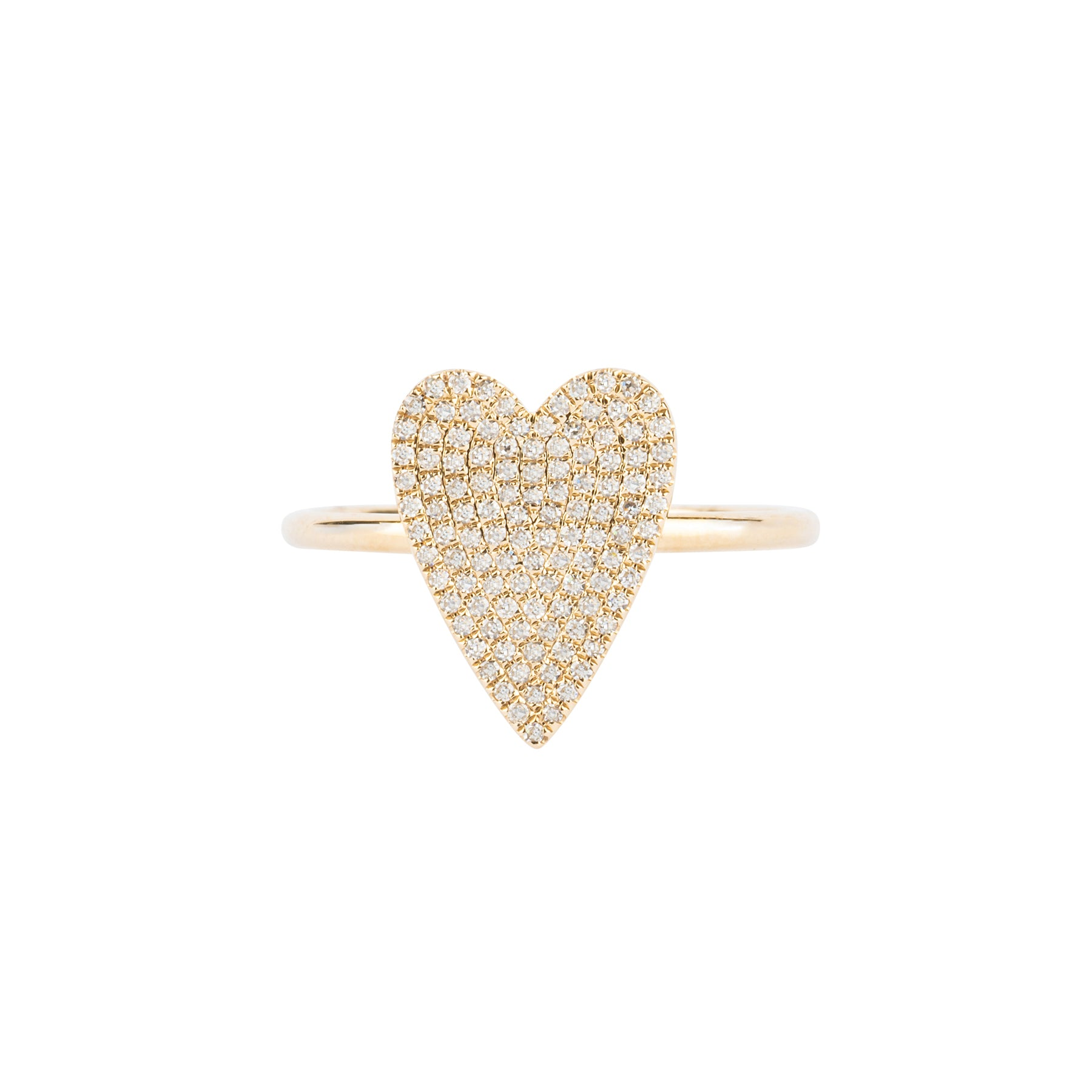 Long Pave Diamond Heart Ring