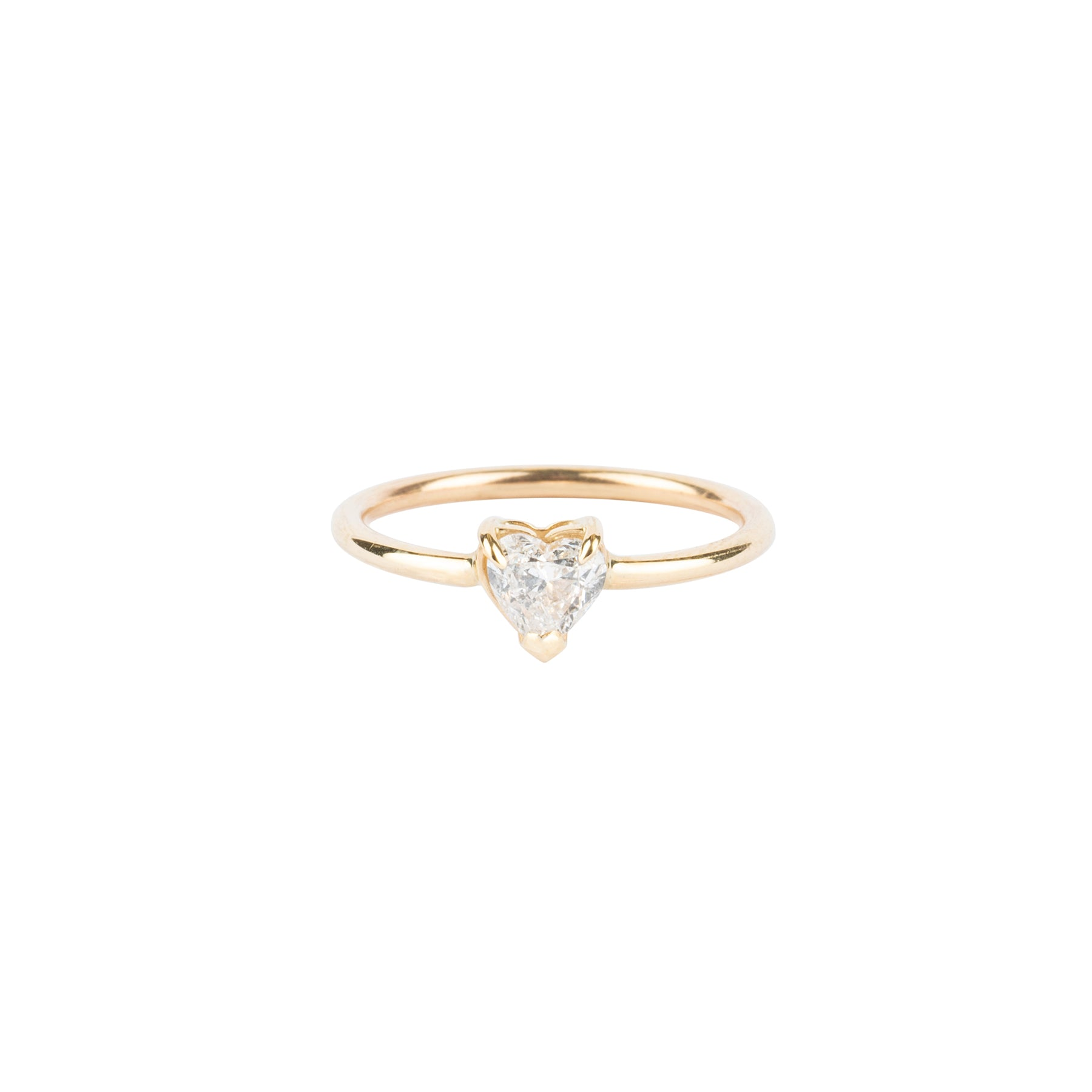 Heart Diamond Solitaire Pinky Ring