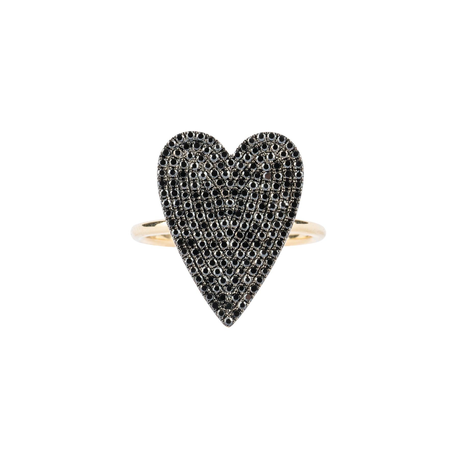 Large Black Diamond Pave Heart Ring
