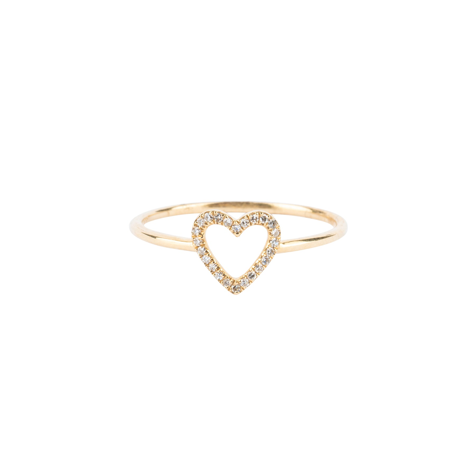 Tiny Diamond Open Heart Ring