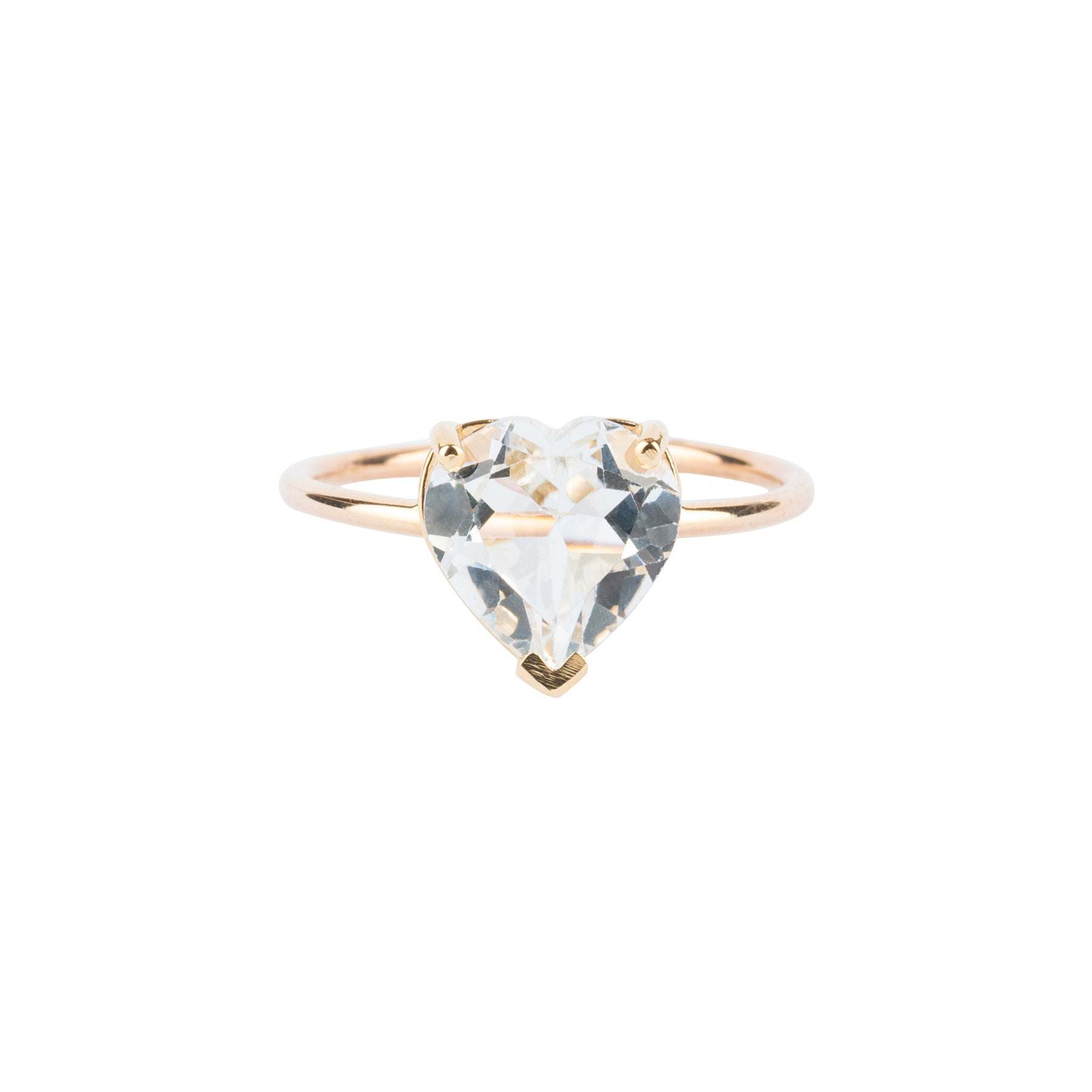 White Topaz Heart Gem Candy Ring