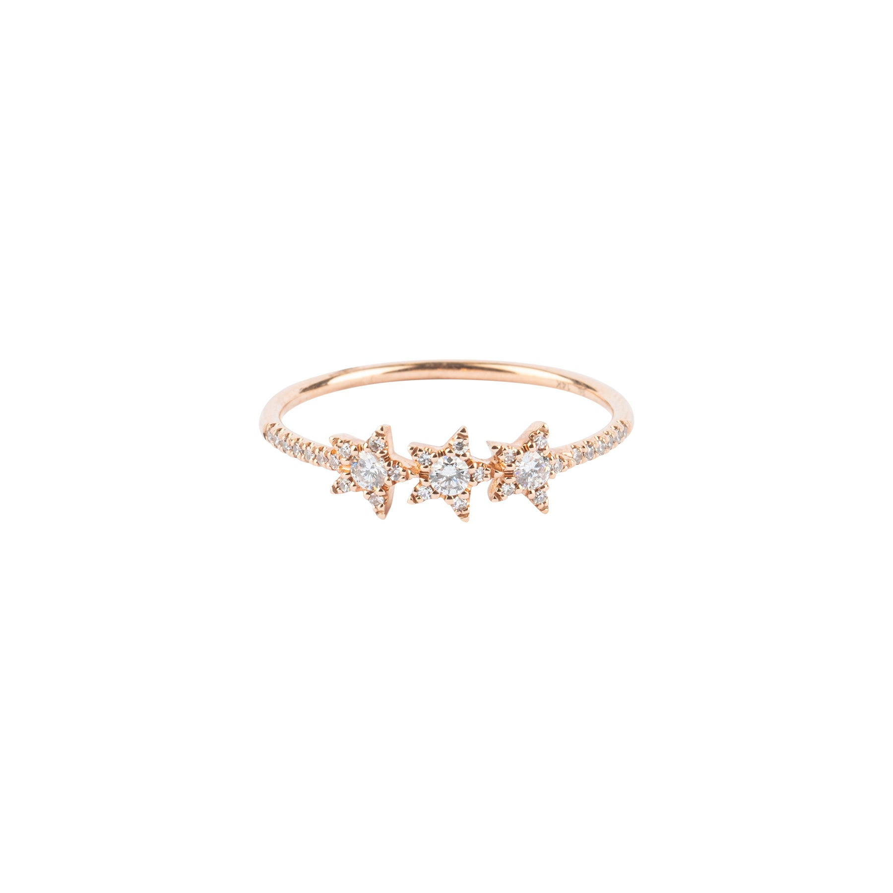 Diamond Three Star Ring