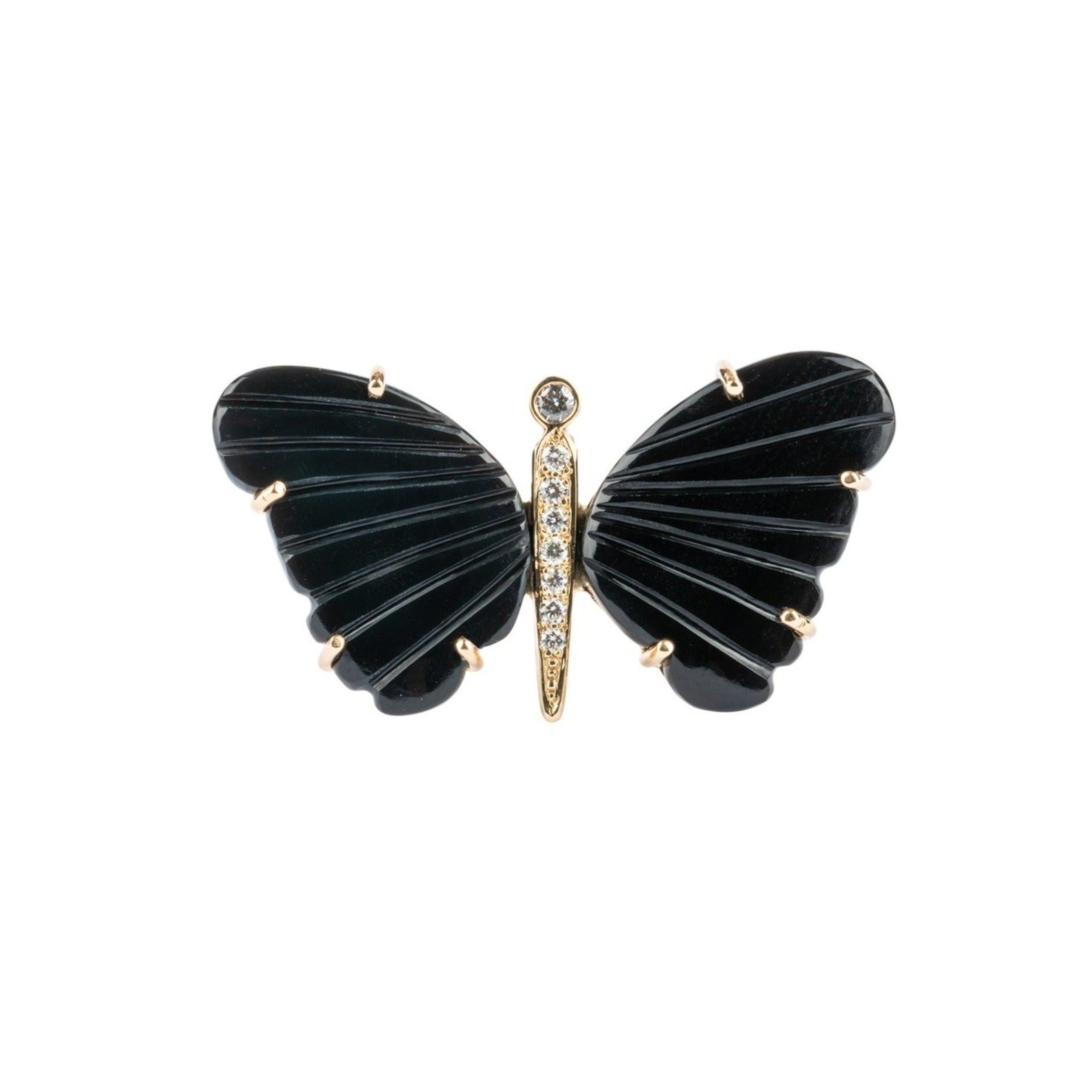 Black Onyx Large Butterfly Diamond Ring