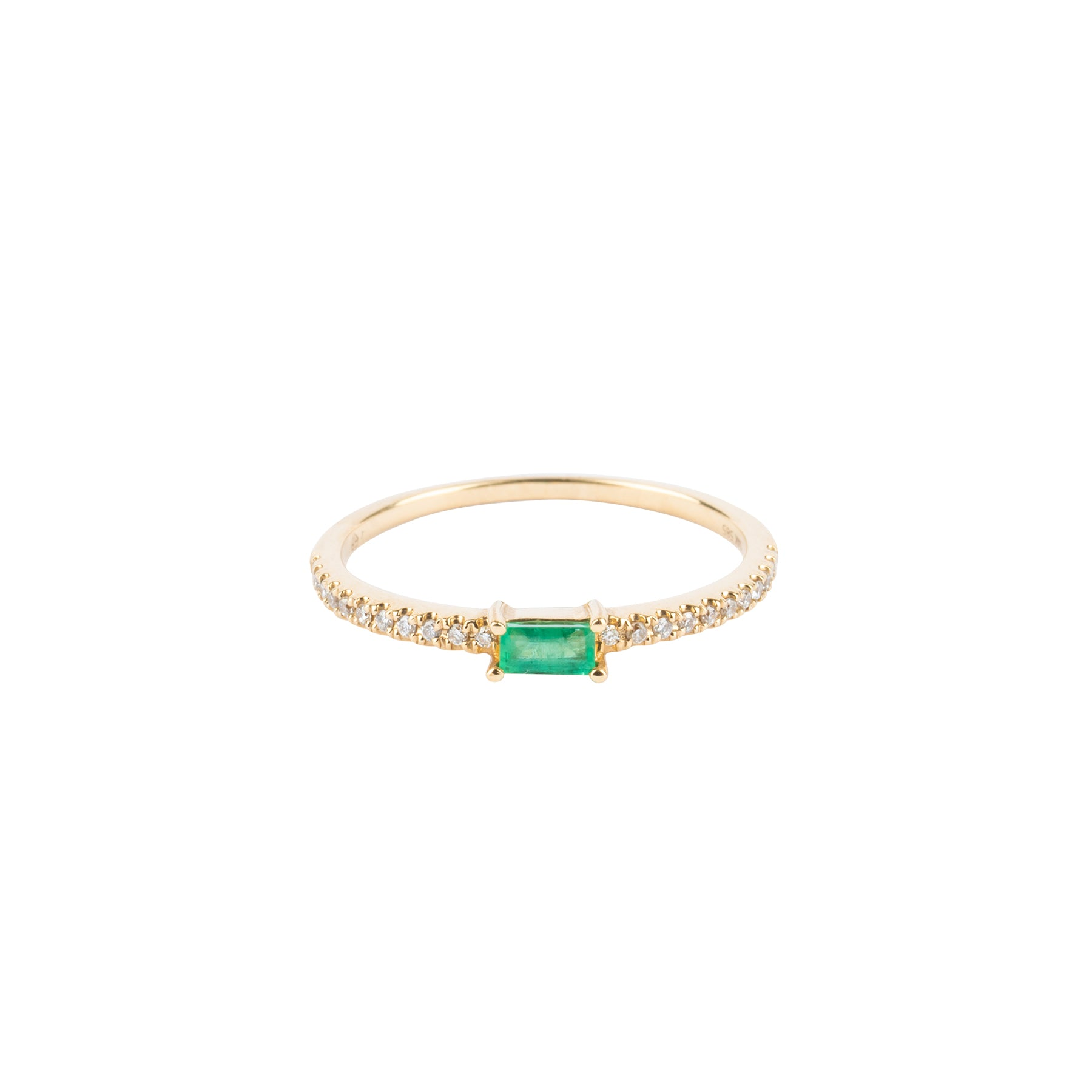 Emerald Baguette Prong Set Diamond Ring