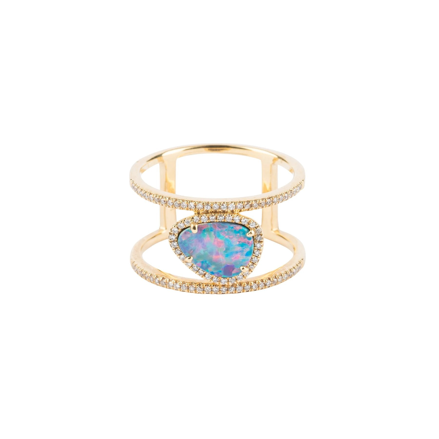 Opal Double Band Diamond Ring