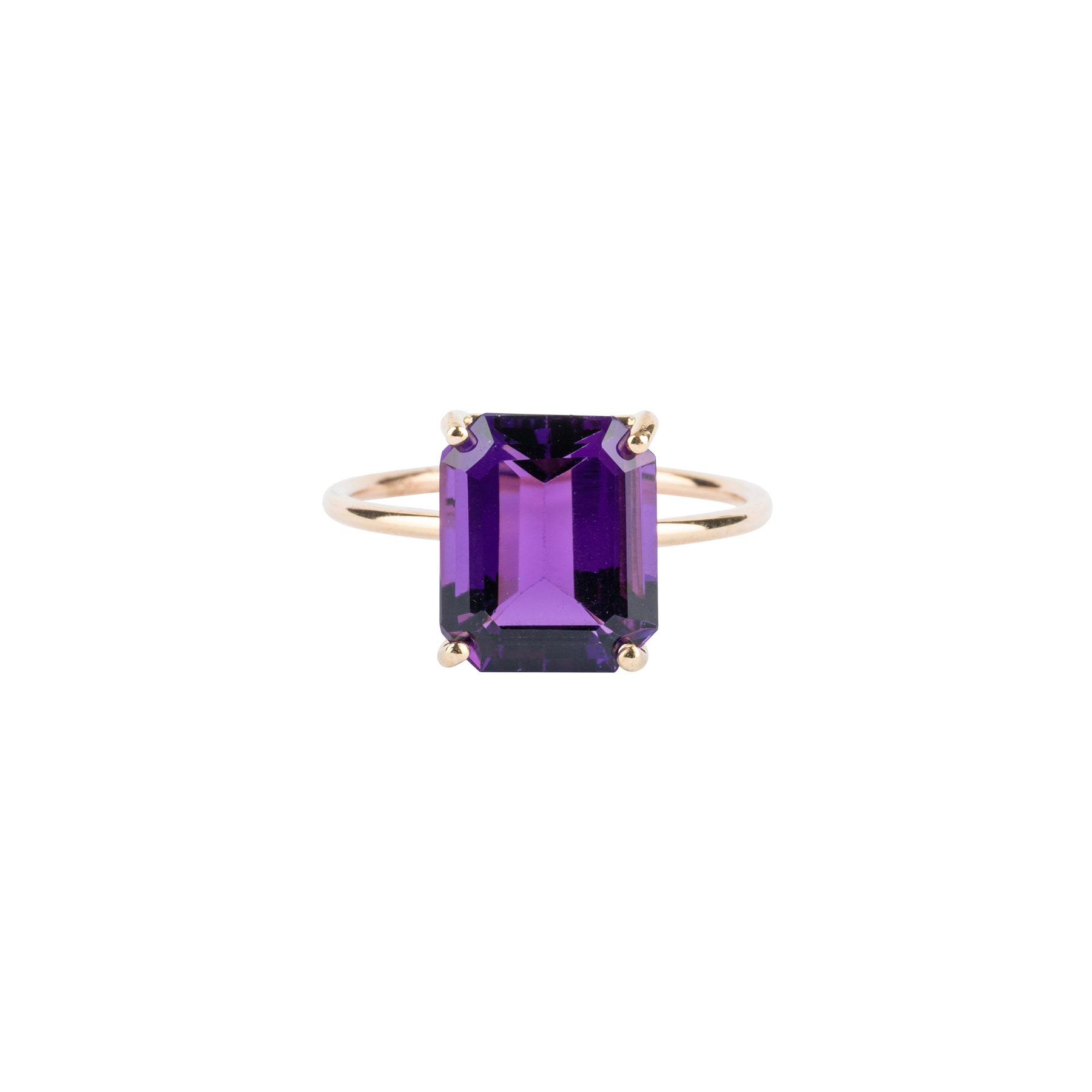 Amethyst Emerald Cut Gem Candy Ring