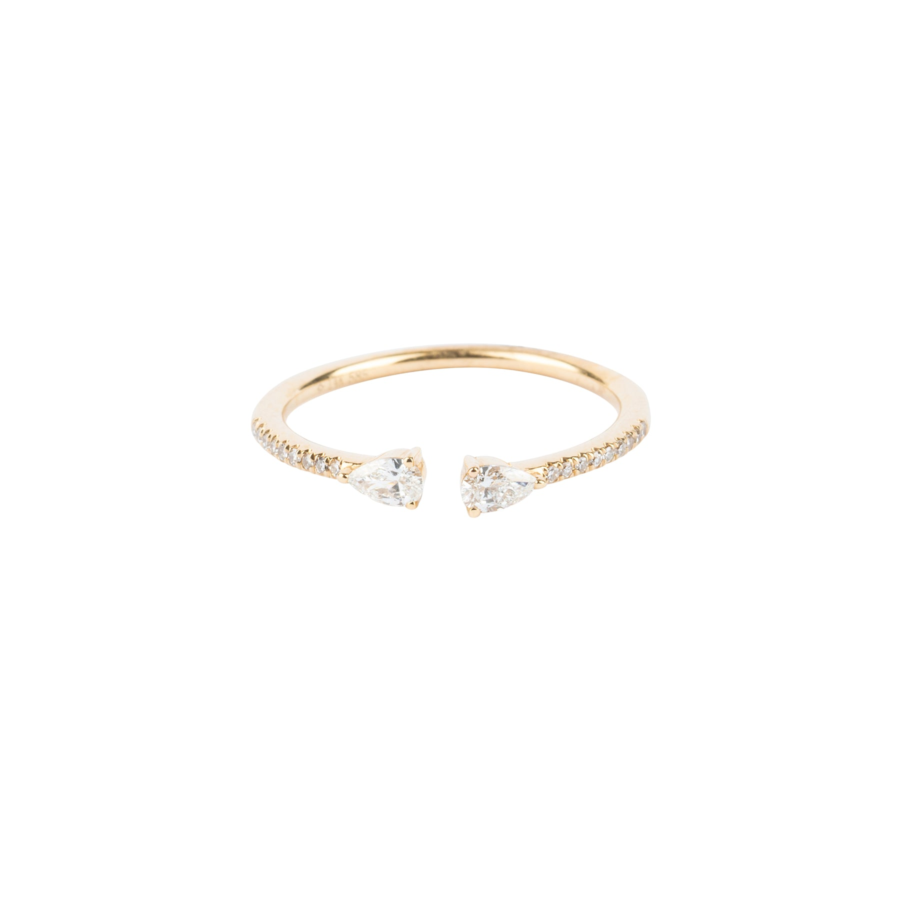 Open Pear Diamond Pave Band