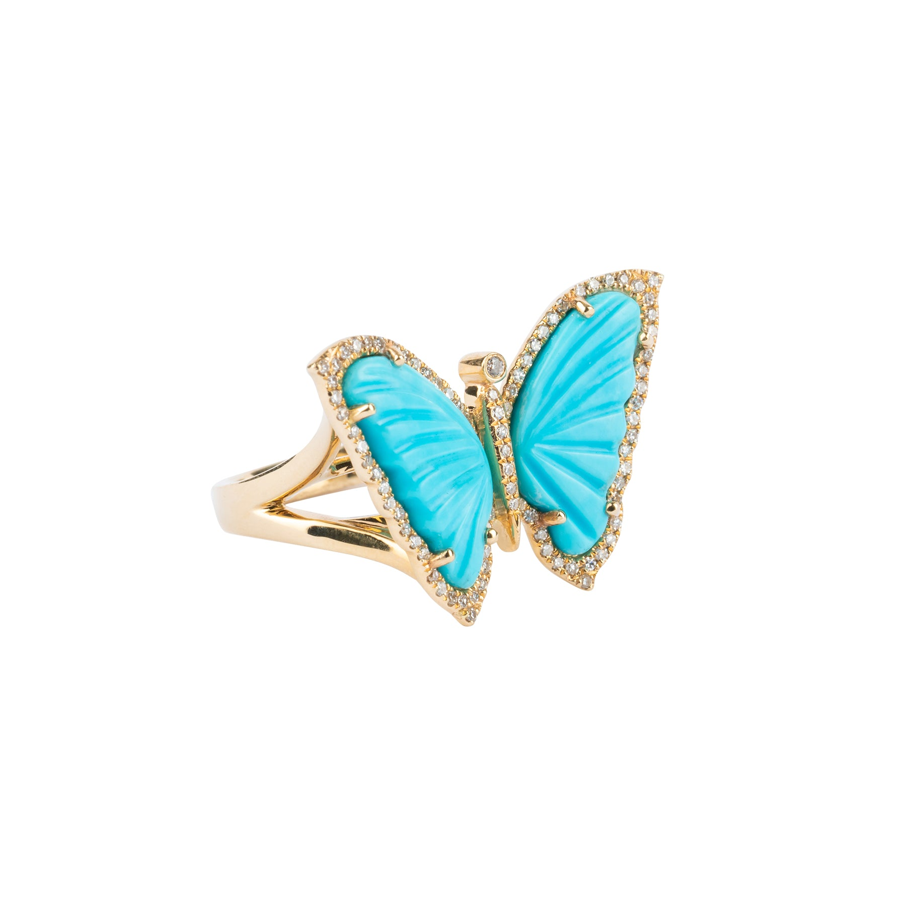 Turquoise Butterfly Diamond Ring