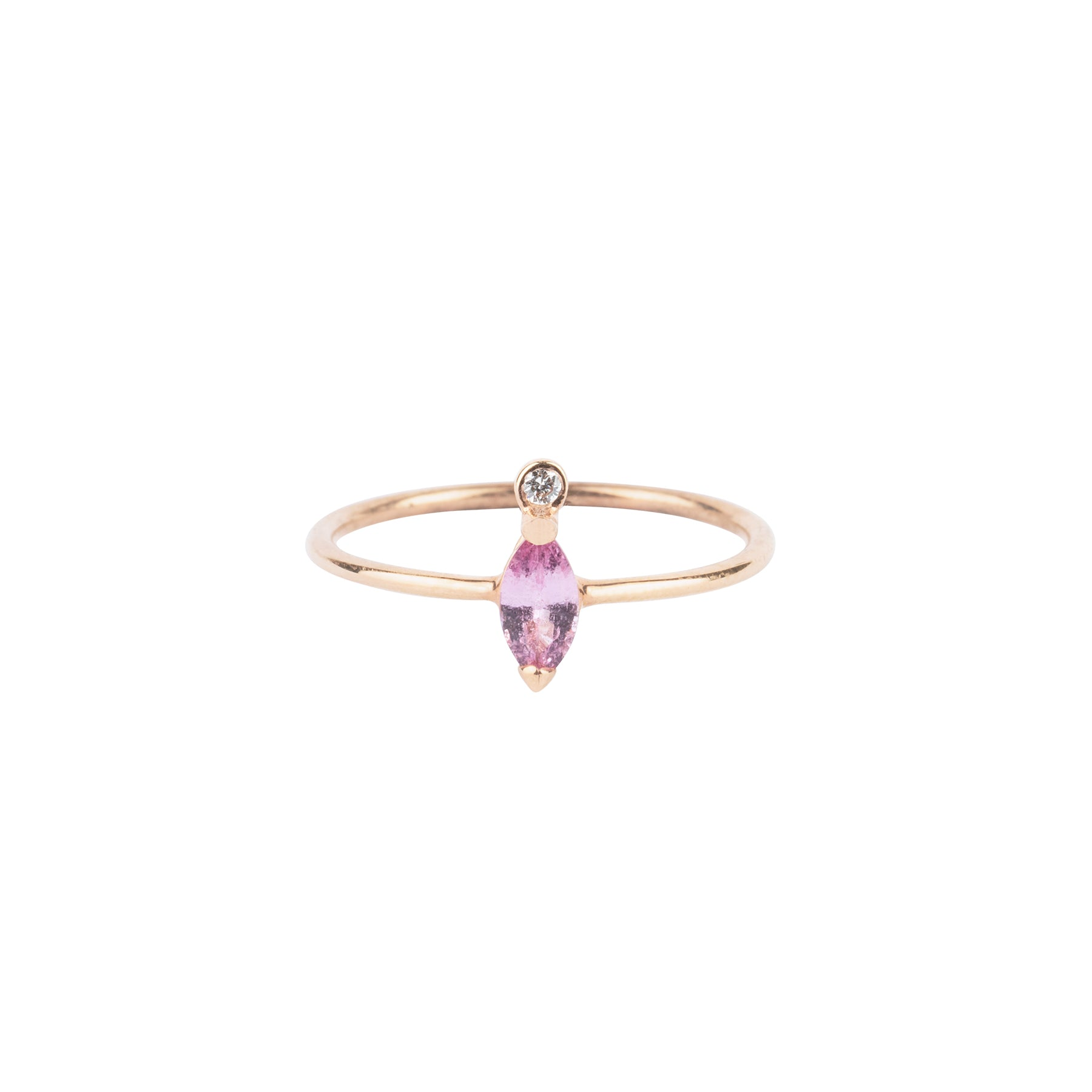 Gem Candy Pink Sapphire Marquise Diamond Tip Ring